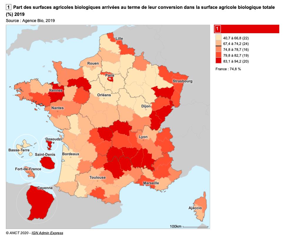 Part des surface agricoles biologiques en 2019 (%) [ANCT – Observatoire des Territoires]